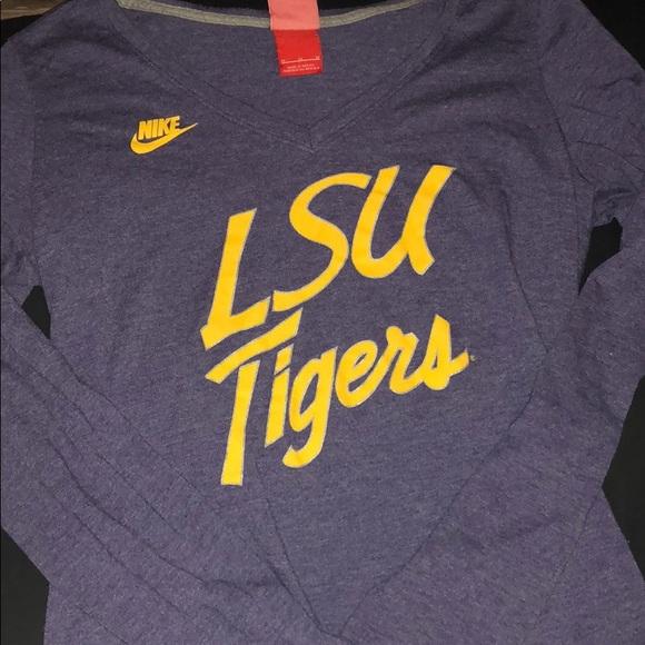 Nike LSU Tigers Pro Combat Hyperwarm Long Sleeve T Shirt